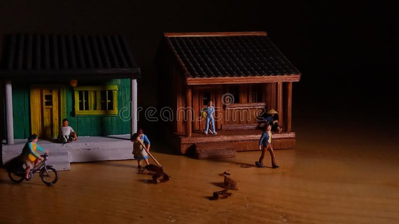 Simple Photo Conceptual, Village People start to doing activity in the very early morning stock photos
