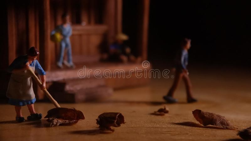 Simple Photo Conceptual, Village People start to doing activity in the very early morning royalty free stock photo
