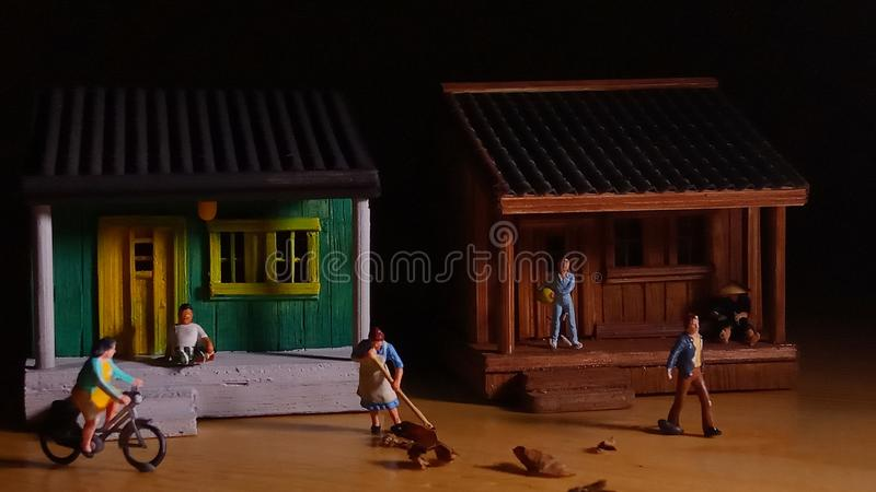 Simple Photo Conceptual, Village People start to doing activity in the very early morning stock image