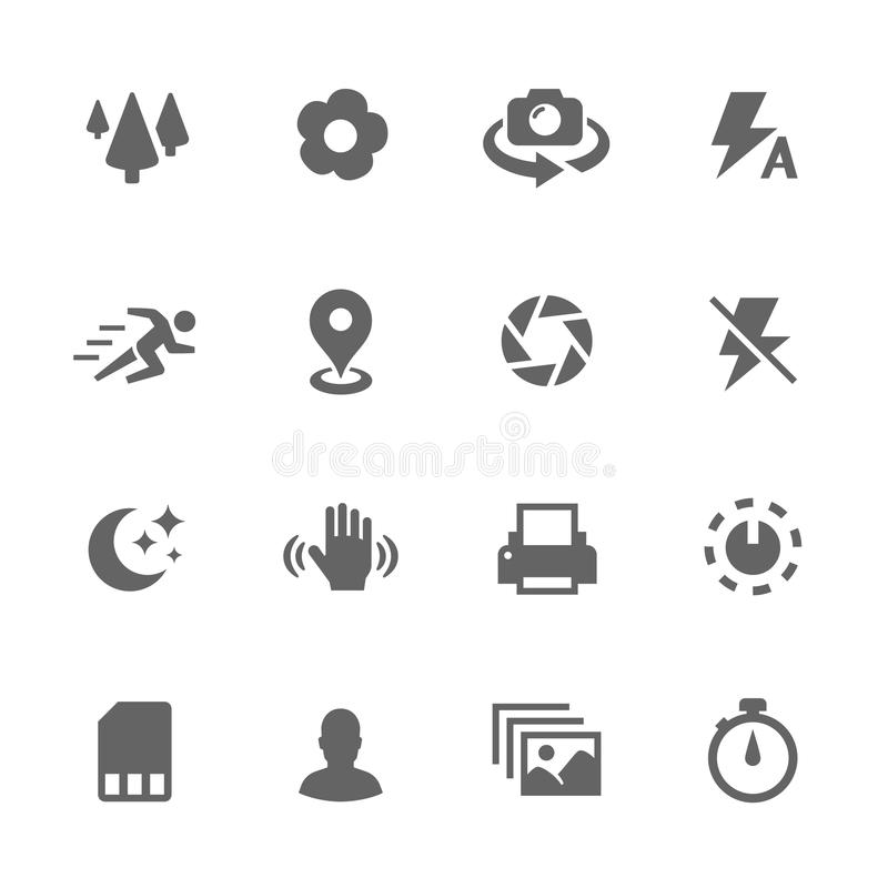Simple Photo Mode Icons. Simple Set of Photo Mode Related Vector Icons. Contains such icons as geo location, print, timer, settings and more royalty free illustration