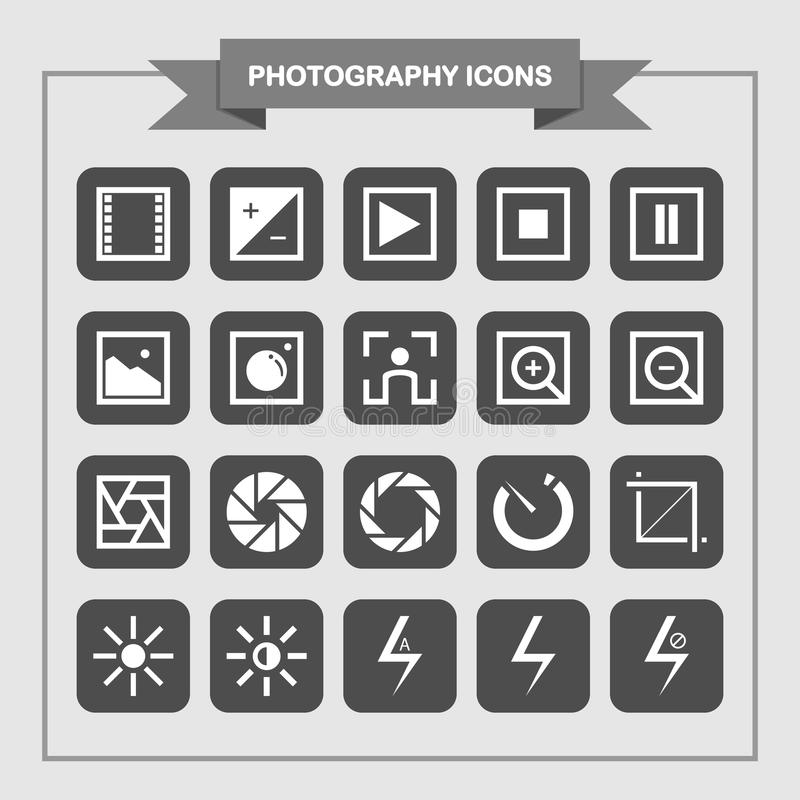 Simple Photography Icon Set Design royalty free illustration