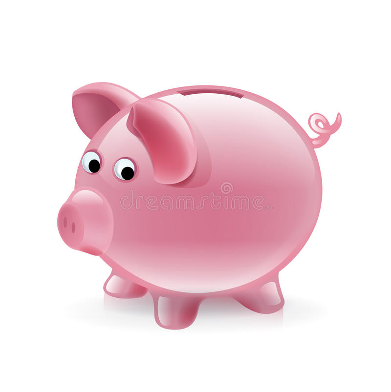 Simple piggy bank isolated on white stock illustration