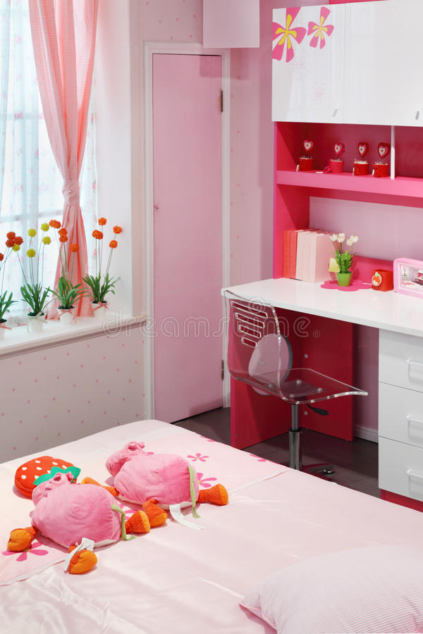Simple Pink Room For Little Girl Stock Photos