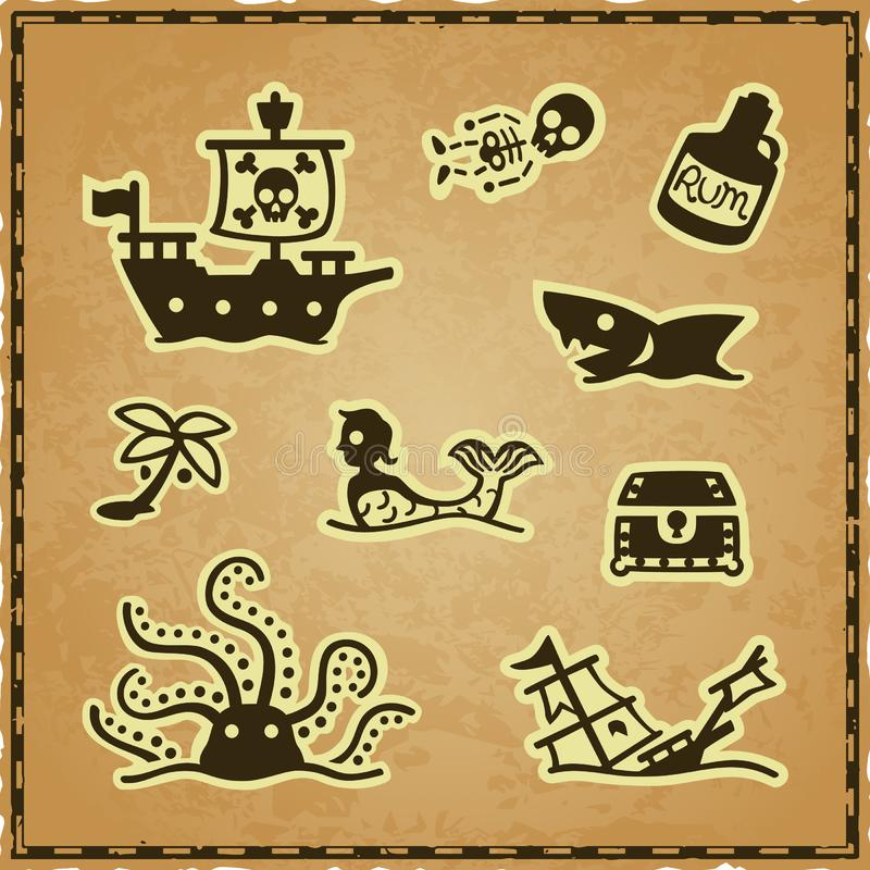 Simple pirate icons on a parchment background with a navigation map frame 向量例证