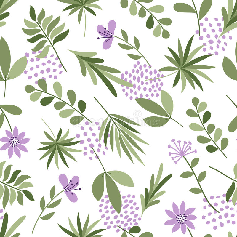 Simple plants pattern. Seamless cute background with flowers and dots. Vector illustration. Template for fashion prints. stock illustration