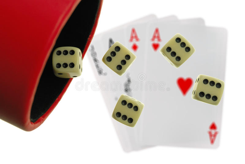 Simple playing bones. On playing cards background royalty free stock image