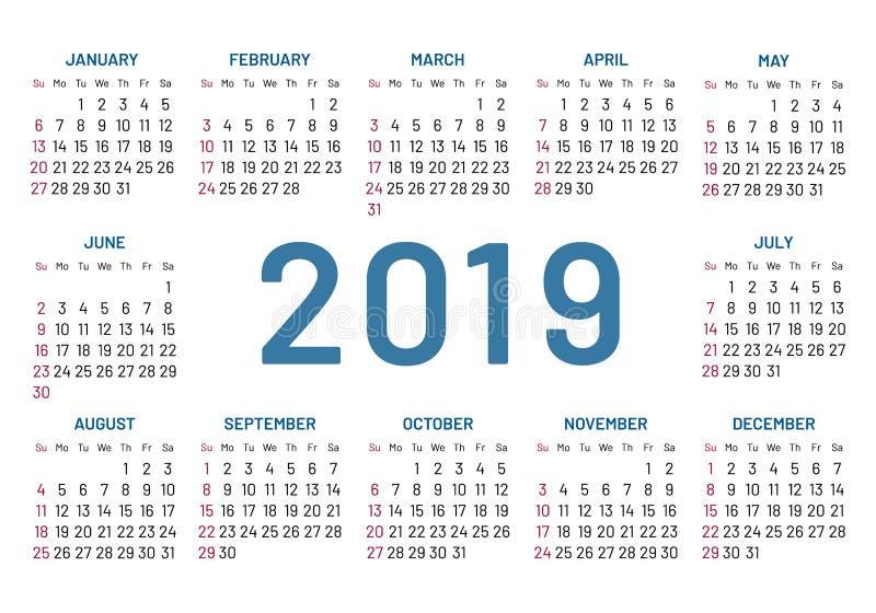 Simple pocket calendar, 2019 center, year, flat, isolated stock illustration