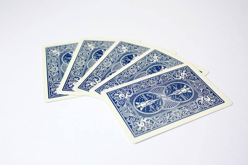 Simple Poker blue casino playing cards stock photography