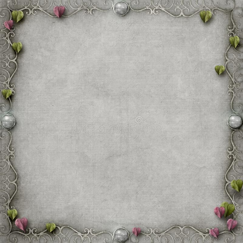 Simple pretty fairytale frame grey background stock illustration