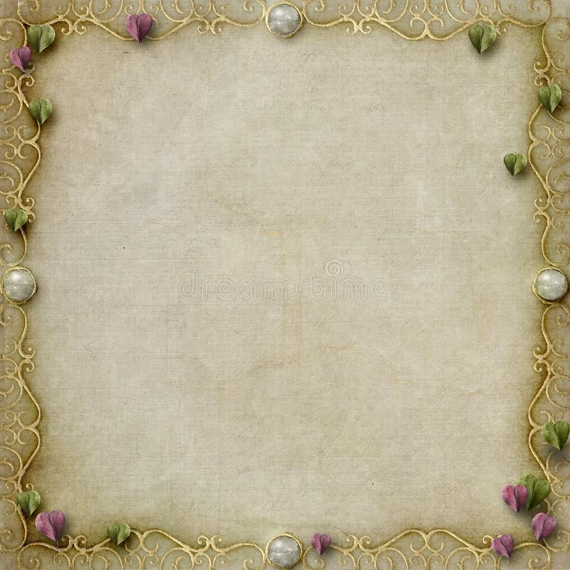 Simple pretty fairytale frame sepia background royalty free illustration