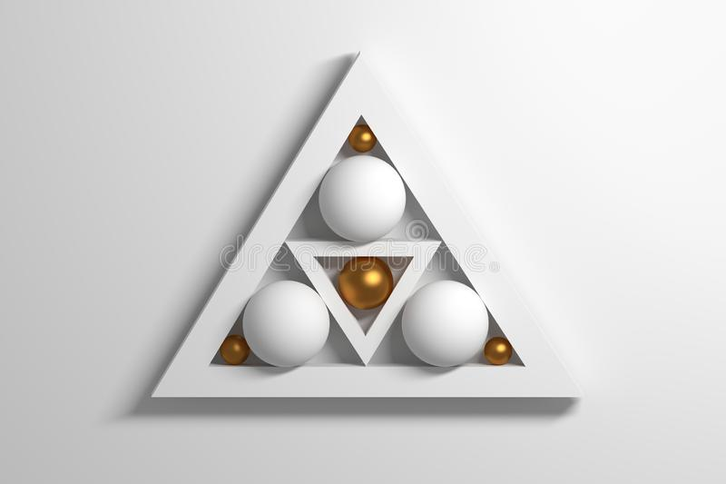 Simple primitive white golden geometric shapes triangles and balls royalty free illustration