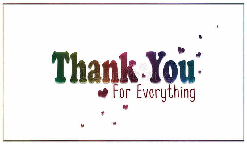 Simple Rainbow Thank You for Everything Card stock photos