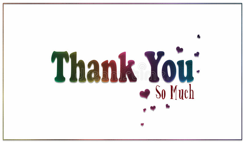Simple Rainbow Thank You So Much Card royalty free stock photos