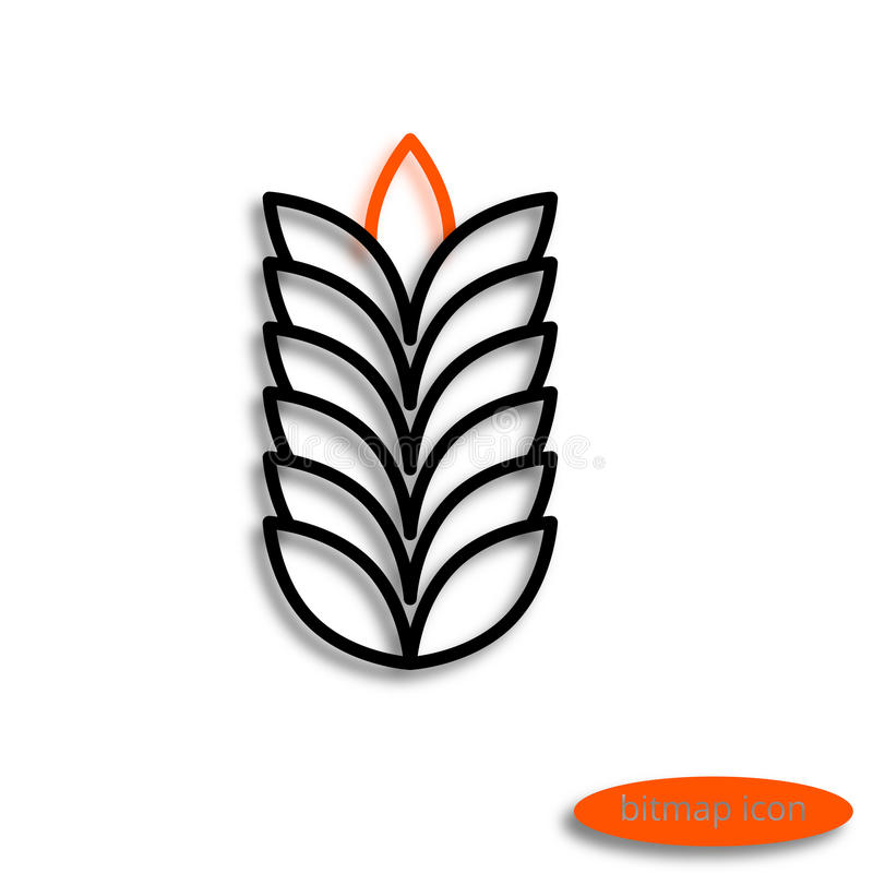 A simple raster linear image of a spike or cob, a line icon for an agricultural farm royalty free illustration