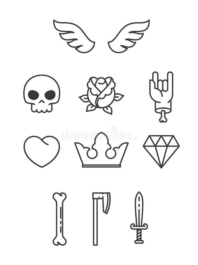 Simple Tattoo Elements stock illustration