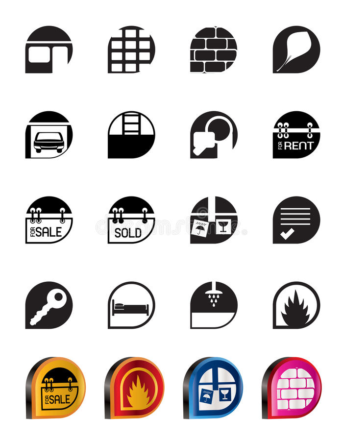 Download Simple Real Estate icons stock vector. Illustration of leaf - 11010123