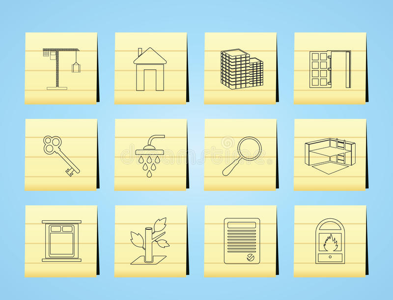 Simple Real Estate icons royalty free illustration