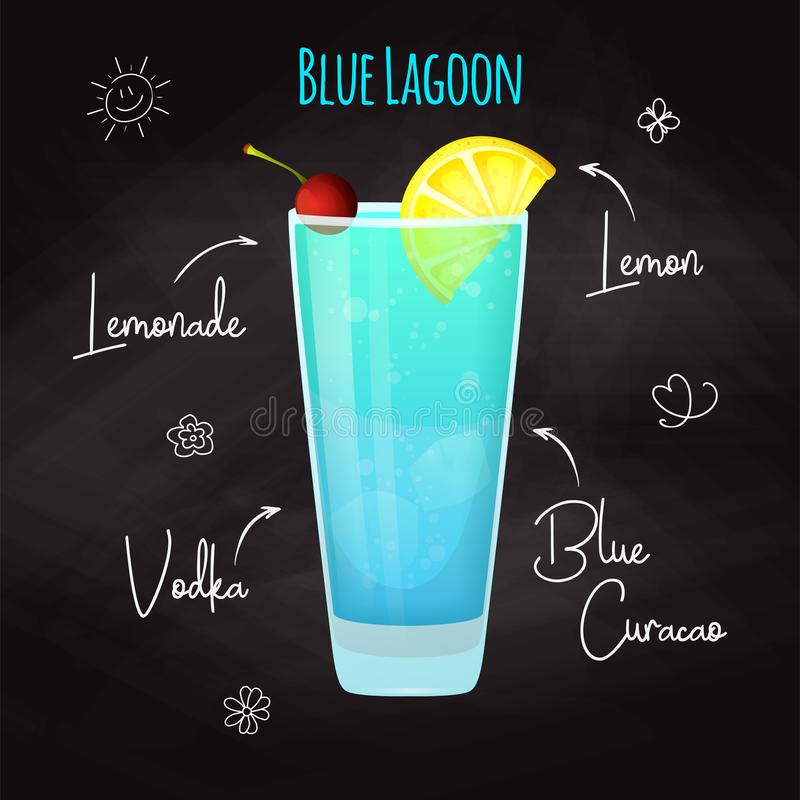 Simple recipe for an alcoholic cocktail Blue Lagoon. Drawing chalk on a blackboard. Vector. Simple recipe for an alcoholic cocktail Blue Lagoon. Drawing chalk on royalty free illustration