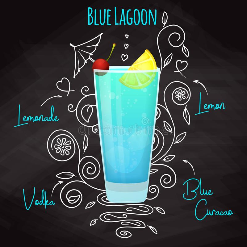 Simple recipe for an alcoholic cocktail Blue Lagoon. Drawing chalk on a blackboard. Vector. Illustration royalty free illustration