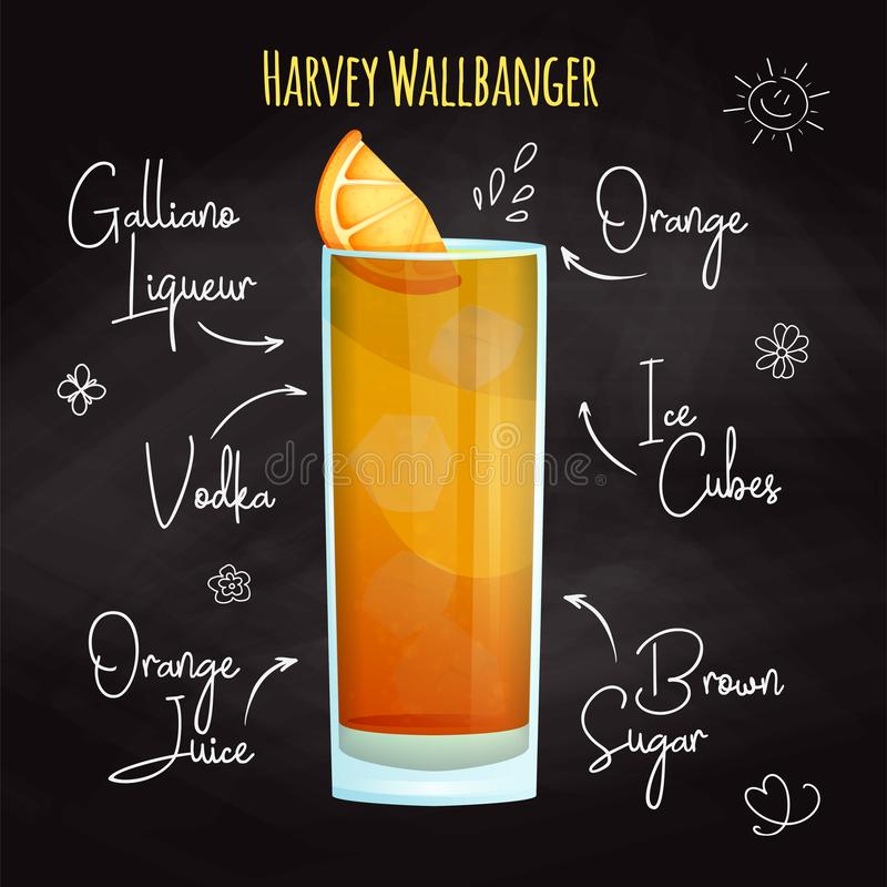 Simple recipe for an alcoholic cocktail Harvey Wallbanger. Drawing chalk on a blackboard. Vector. Simple recipe for an alcoholic cocktail Harvey Wallbanger vector illustration