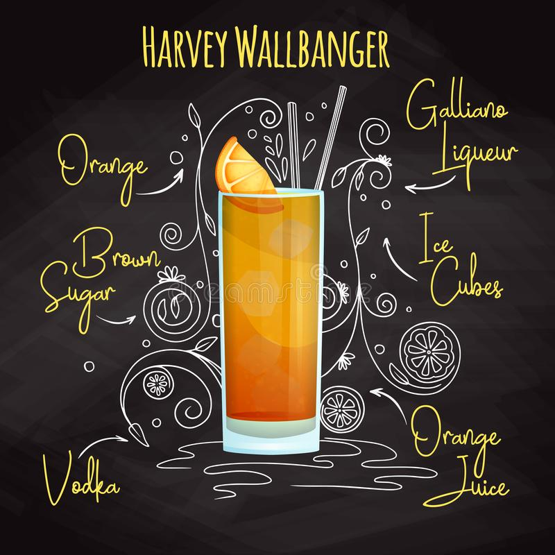 Simple recipe for an alcoholic cocktail Harvey Wallbanger. Drawing chalk on a blackboard. Vector. Illustration vector illustration