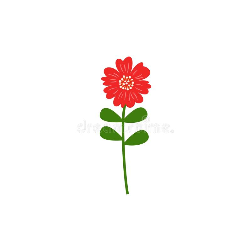 Simple red flower vector icon flat design stock illustration