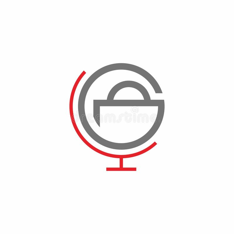 Simple red grey round illustration global online shop logo design royalty free illustration