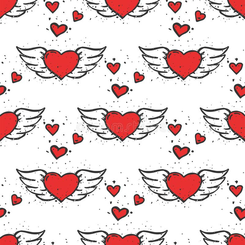 Simple red heart sharp vector seamless pattern background color card beautiful celebrate bright emoticon symbol holiday. Abstract art decoration. Romance shape vector illustration