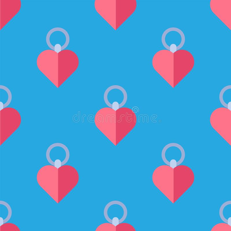 Simple Red Heart Sharp Vector Seamless Pattern Background Color Card