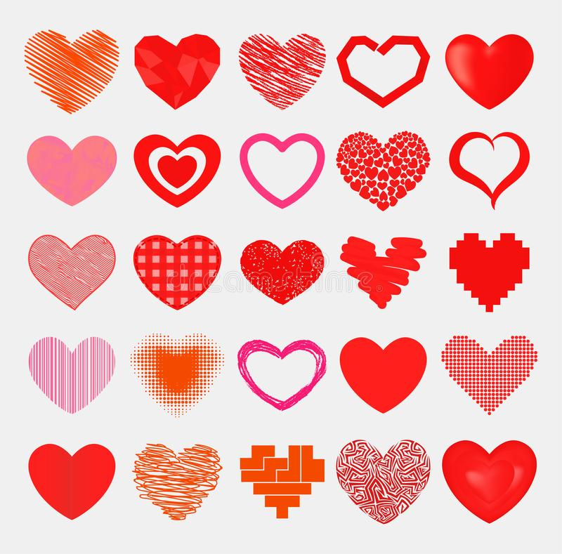 Red hearts sharp simple red vector icon. Color card beautiful celebrate bright emoticon red-heart symbols. Love heart. Simple red hearts sharp vector icon. Color vector illustration