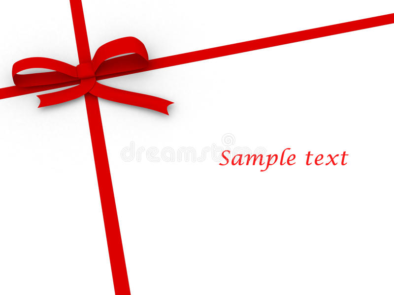 Simple red ribbon on white stock illustration