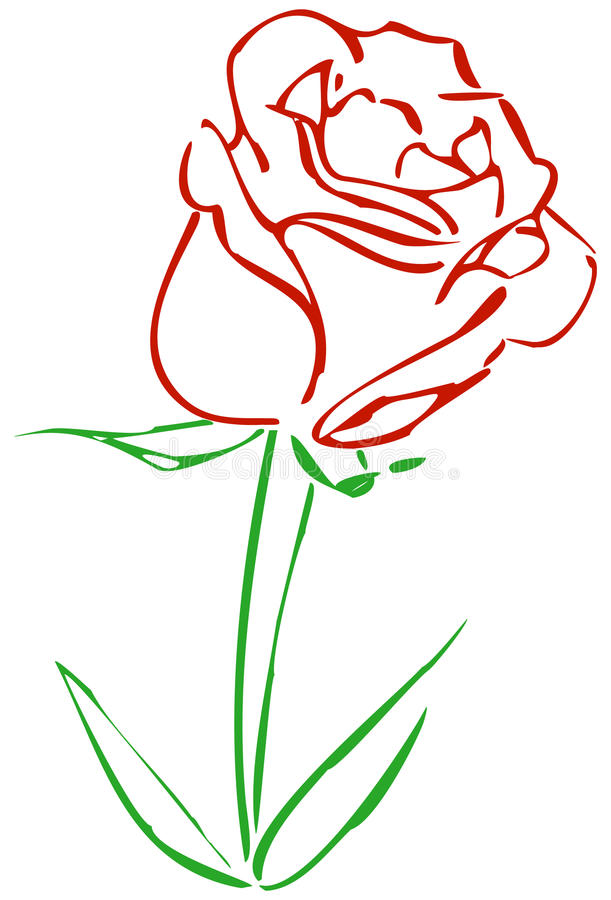 Simple Red Rose royalty free illustration