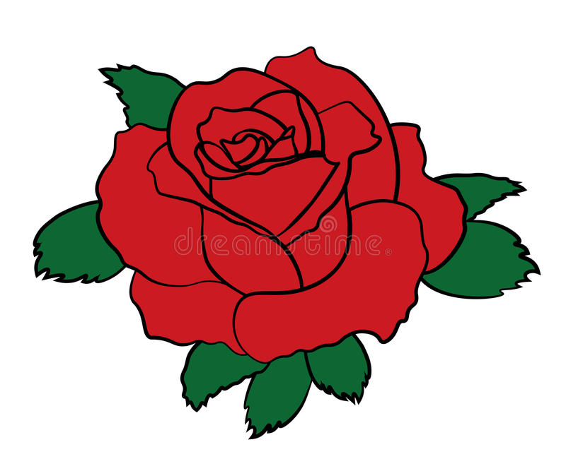 Simple red rose patch sticker with black stroke. Flower icon sign. Vector illustration stock illustration
