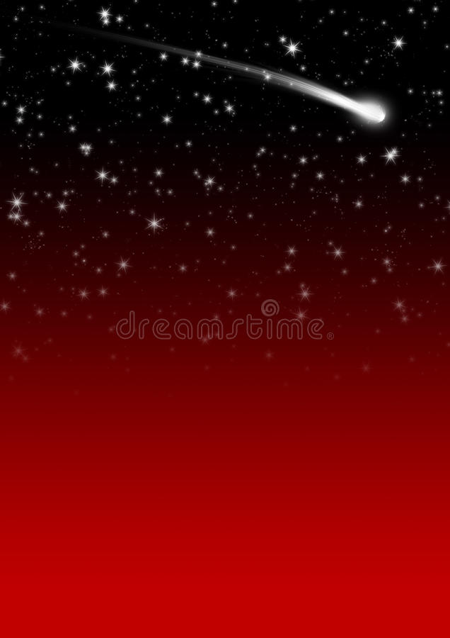 simple red starry night sky background with falling star