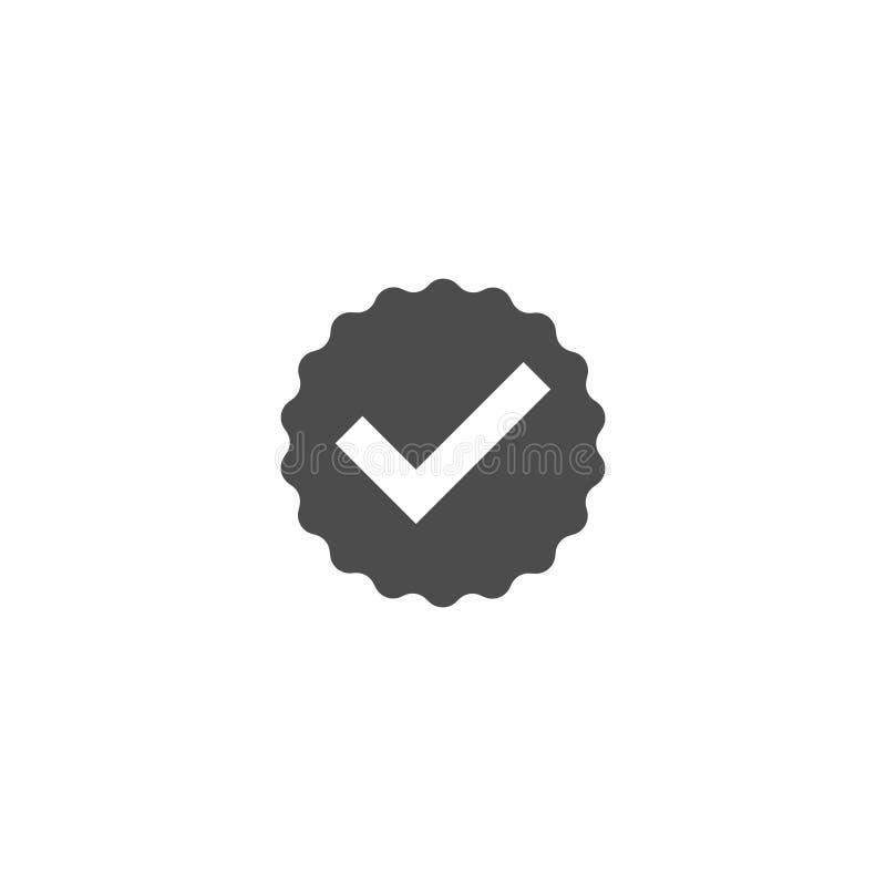 Simple redondo del icono plano de la marca de cotejo del control del vector ilustración del vector