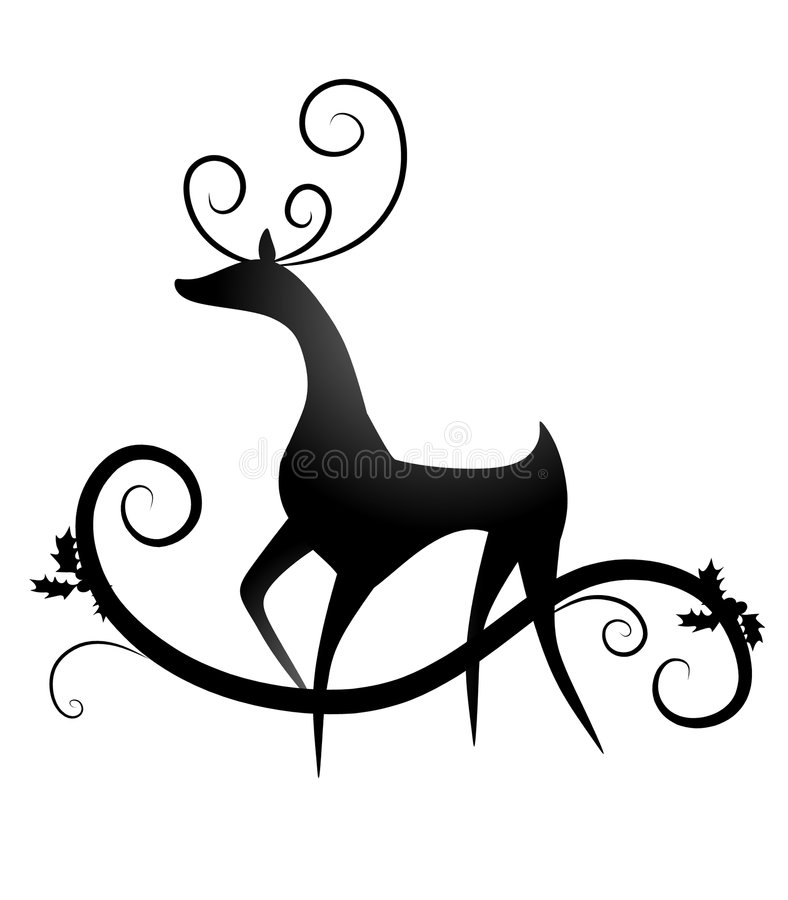 Free Simple Reindeer Silhouette Stock Photography - 7171792