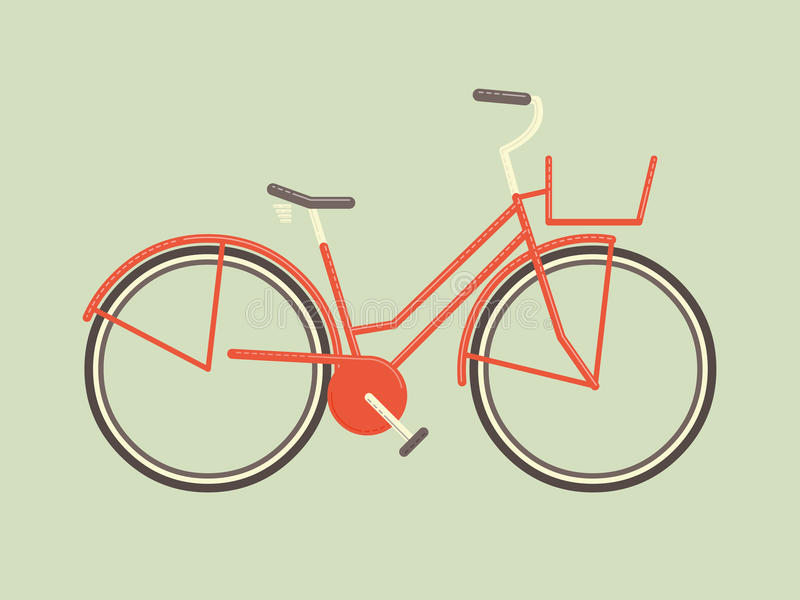 Simple retro female bicycle vector stock image