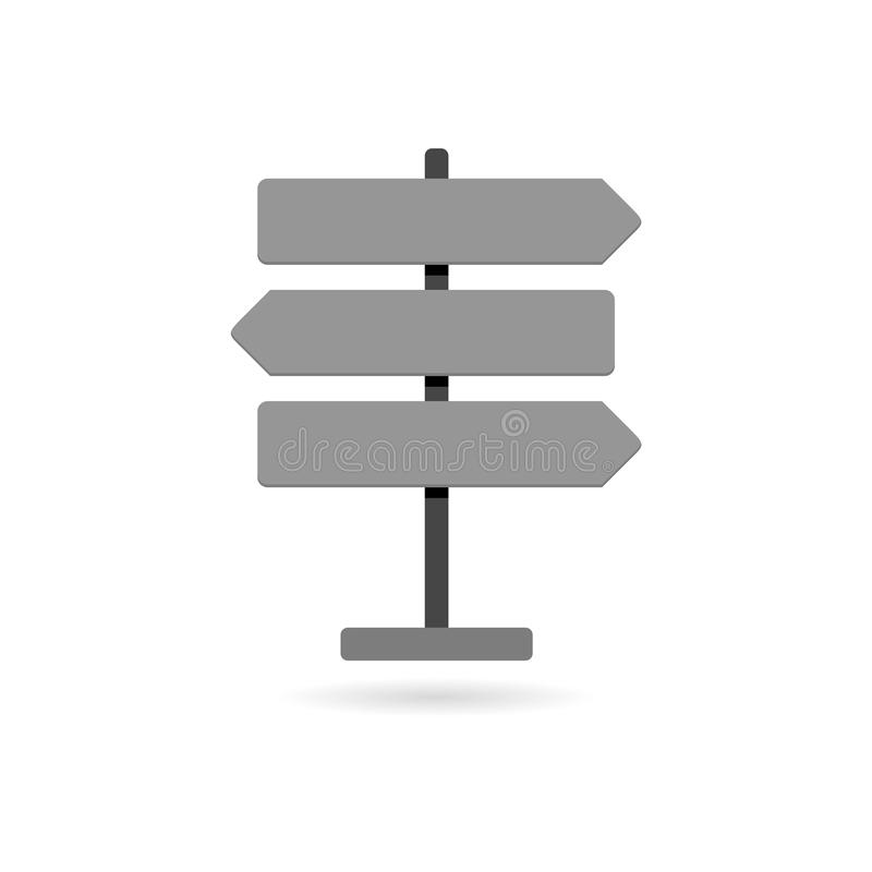 Simple Road traffic sign. Signpost icon isolated. Pointer symbol. Road traffic sign. Signpost icon isolated. Pointer symbol on white background vector illustration