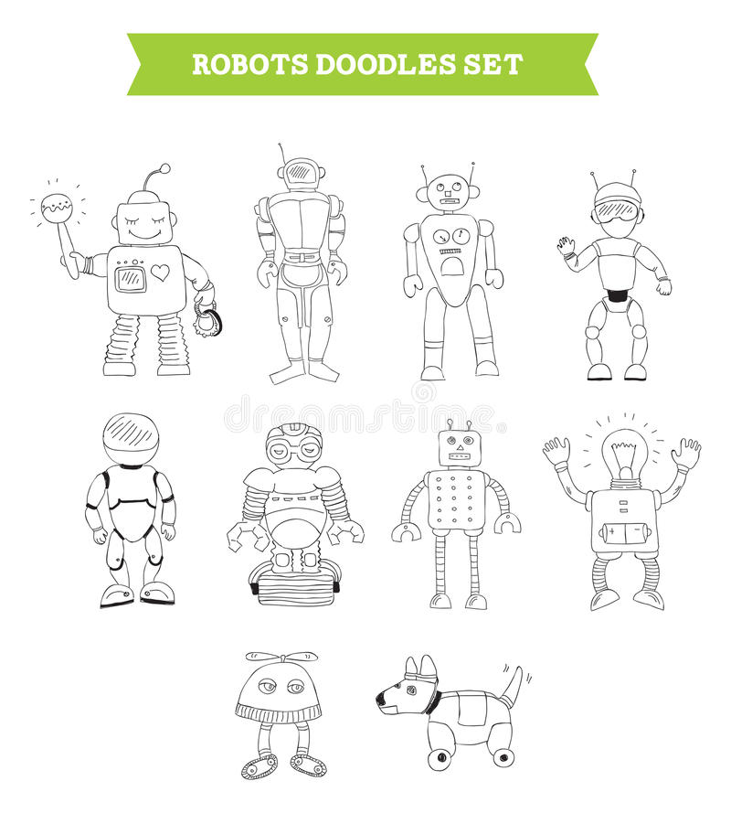 Simple robots doodles set. Hand drawn vector illustration of robots doodles elements. Ten robots drawn in different poses by hand. Isolated on white background royalty free illustration
