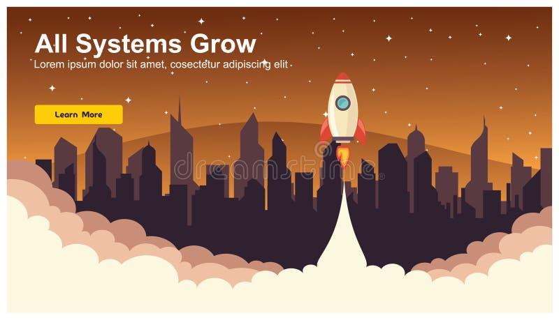 Simple Rocket Icon, Responsive web design flat vector, web design technology, including laptop, desktop, tablet and mobile phone vector illustration