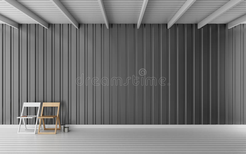 Simple room with metal sheet wall 3d rendering stock image