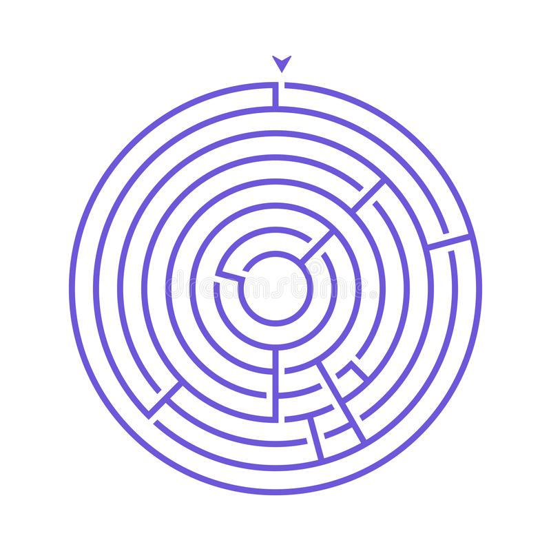 Simple round maze labyrinth game for kids. One of the puzzles from the set of child riddles.  stock illustration