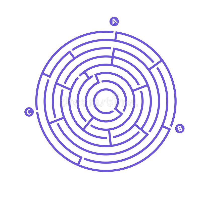 Simple round maze labyrinth game for kids. One of the puzzles from the set of child riddles.  royalty free illustration