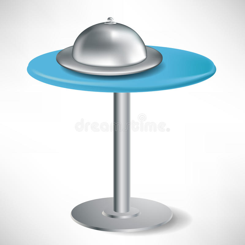 Simple round table with catering tray vector illustration