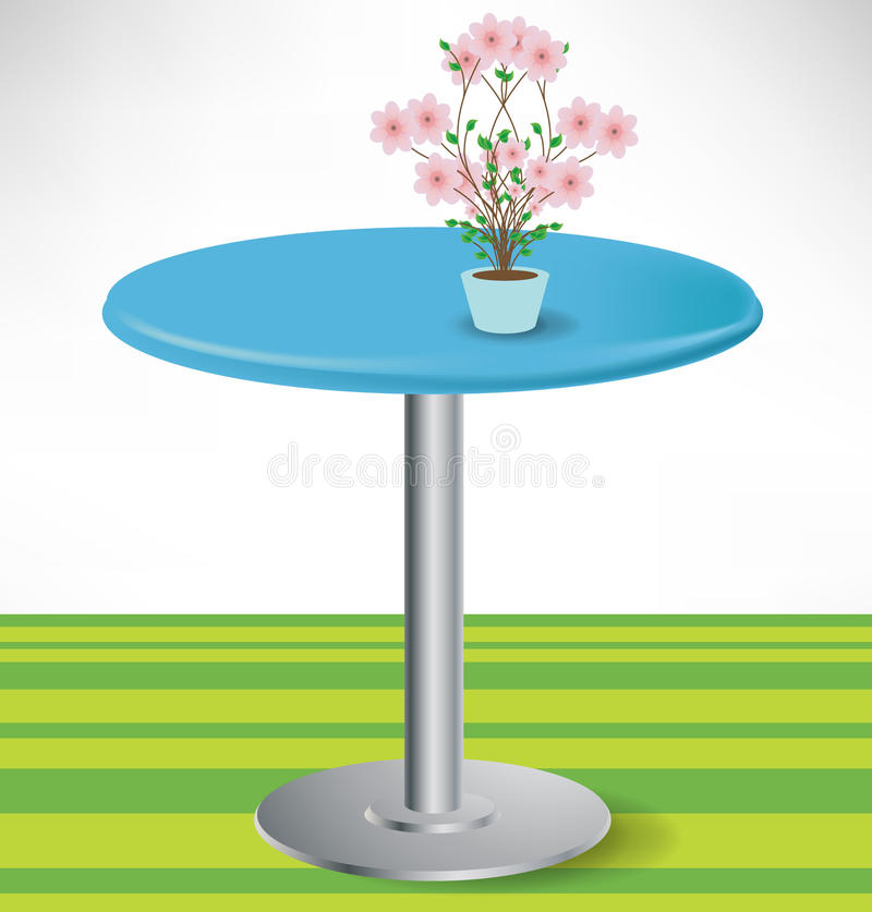 Simple round table with flower royalty free illustration