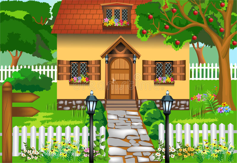 Simple rustic house vector illustration
