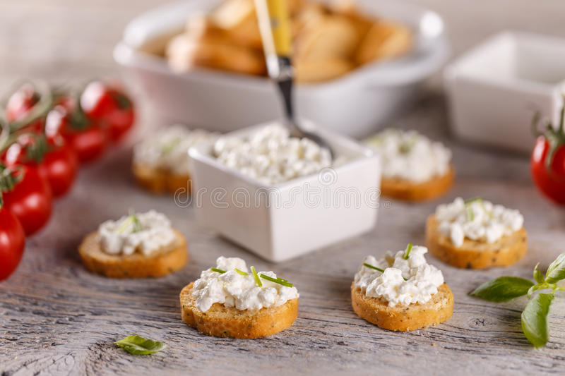Simple sandwiches with cottage cheese royalty free stock images