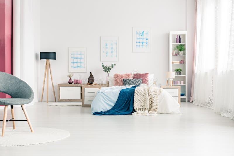 Simple Scandinavian Bedroom Interior Stock Image
