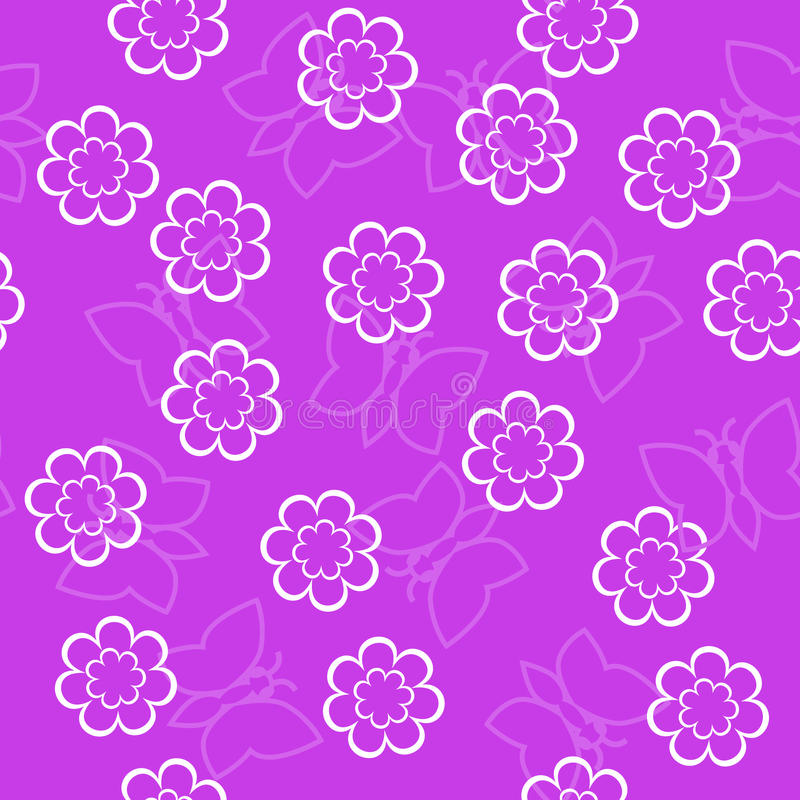 Simple Schematic Outline White Flowers And Butterfly On A Pink B ...