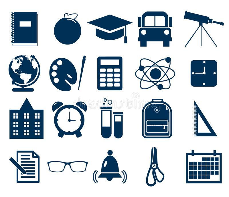 Simple school icons set. Universal school icon to use for web and mobile UI, set of basic school elements flat vector stock illustration